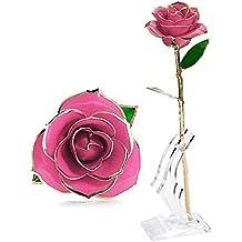 Rosa Regalo Fiore 24K Oro, Migliore Regalo per Valentino, Festa della Mama, Festa della Donna, Anniversario, Regalo di Compleanno, Regalo per gli Amanti, Fidanzata, Madre, Decorazione Matrimoniale in Confezione Perfetta (Rosa)