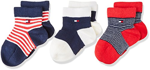 Tommy Hilfiger Unisex Baby Socken TH BABY NEWBORN GIFTBOX 3P, Blau (Midnight Blue 563), Neugeboren (Herstellergröße: 11/14) (Baby-socken Neugeborene)