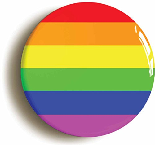 RAINBOW BADGE BUTTON PIN (Size is 1inch/25mm diameter) LGBT GAY PRIDE DIVERSITY PEACE by Pin It On