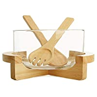 Billi Glass Salad Bowl with Wooden Stand and Servers Set GW-611