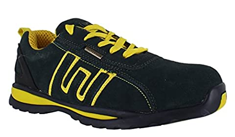 Groundwork Safety Trainer Shoe Branded Footwear Steel toe cap Lightweight Oil Resistant Slip Resistant outsole Padded Insoles For Comfort & Shock Absorption Outdoor Workwear Work Durable Material Retro Hip-Hop Skater Funky Cool Suitable For Many Uses GR86 Navy Yellow Sizes UK 6