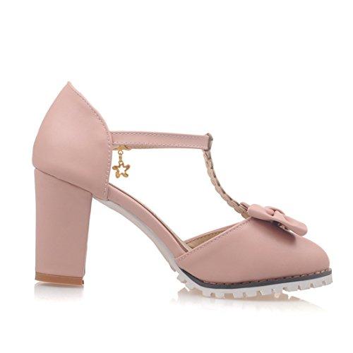 YE Damen T Strap Pumps Blockabsatz High Heels Plateau mit Knöchelriemchen und Schleife 8cm Absatz Süß Schuhe Rosa