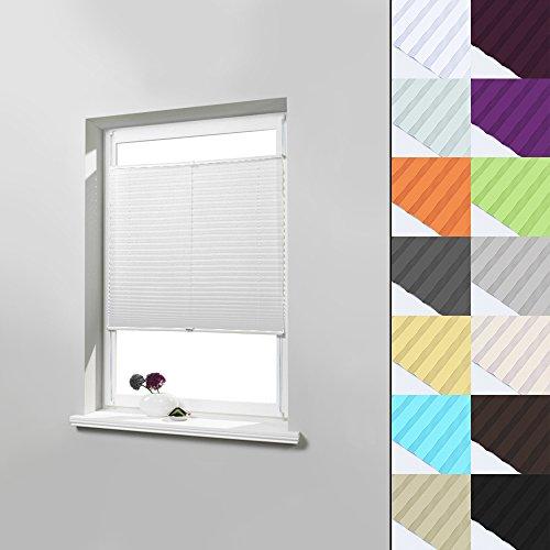 Easyfix Jalousien PLISSEE Ohne Bohren (Weiß, 130 x 150cm) / Sonnenschutzrollo KLEMMFIX Verspannt / PLISSEE-ROLLO Farbe & Größe wählbar / Faltrollo Sonnen- und Sichtschutz