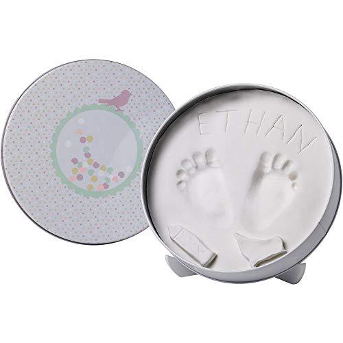 Baby Art Magic Box Scatola Tonda in Metallo con Kit Impronta per Calco in Gesso di Mani e Piedi del Neonato, Confetti