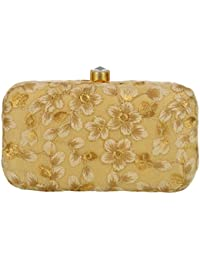 Tooba Women's Kaseb Flower Leaves Box Clutch