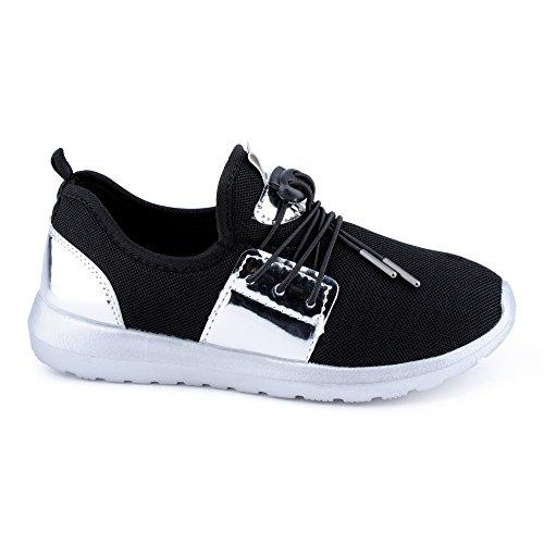 Damen Sneaker Sportschuhe Schnür Lauf Lack Freizeit Netz Fitness Low Top Schuhe Schwarz/Silber