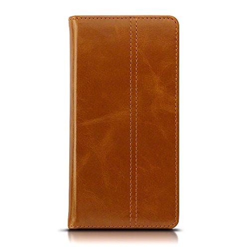 Lumia 950 Case, Terrapin ECHT LEDER Slim Fit Brieftasche im Bookstyle mit Standfunktion Kartenfächer für Microsoft Lumia 950 Hülle - Hellbraun
