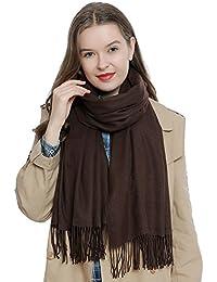 Bufanda de invierno grande para mujer 185 x 65 cm liso suave y cálido