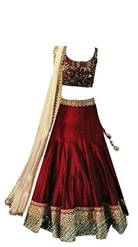 MAHAVIR FASHION Kids Wear Girls Maroon Benglori Silk Un stitched Lehenga Choli For Festivals and Wedding Traditional Wear. (5-12 Yrs)