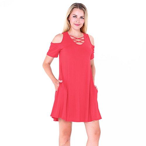 NiSeng Donna V Collo Abito Corto Mini Vestiti Camicia Manica Corta Allentata Con Tasca Mini Vestito Rosso