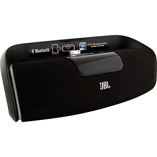JBL OnBeat despierto Bluetooth activado la alarma del altavoz del muelle de reloj con Reino Unido / UE del adaptador de red compatible con el iPhone 3G, 3GS, 4, 4S, iPod Touch 4 ª generación y el iPod Nano sexta generación - Negro