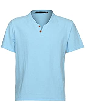YanHoo Uomo Tops, Mens Casual manica corta business camicia slim fit camicetta camicia di lino,Uomo Sportivo Palestra...
