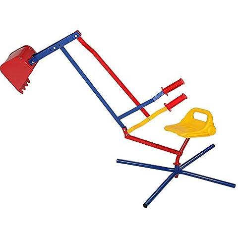 Large Sand Pit Digger Metal Children's Excavator Toy Kids Sit On Mini Digger - Garden Outdoor - 360º