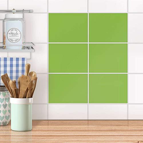 Klebe-Folie Sticker Aufkleber Fliesen-Mosaik Küchen-Fliesen Wand Deko I 20x15 cm Farbe Hellgrün 2-6 Stück ()