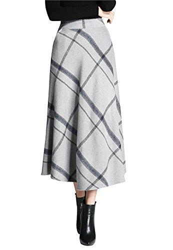 Donna Vintage Gonna Pieghettati vita alta Gonne Cintola Elastica - Inverno moda elegante plaid di lana A-Linea caldo Lunga MIDI maxi gonna Grigio chiaro