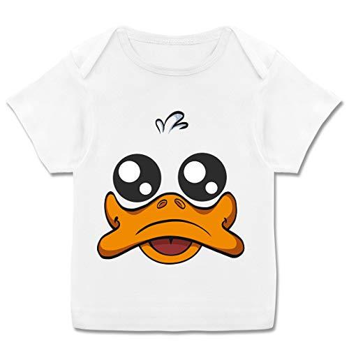 Karneval und Fasching Baby - Ente Kostüm Gesicht - 56-62 (2-3 Monate) - Weiß - E110B - Kurzarm Baby-Shirt für Jungen und Mädchen