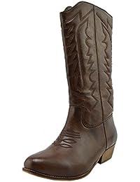 53817a826e290 Donna A Metà Polpaccio Blocco Tacco A Cavallo Cowboy Biker Boots Zip Up  Scarpe