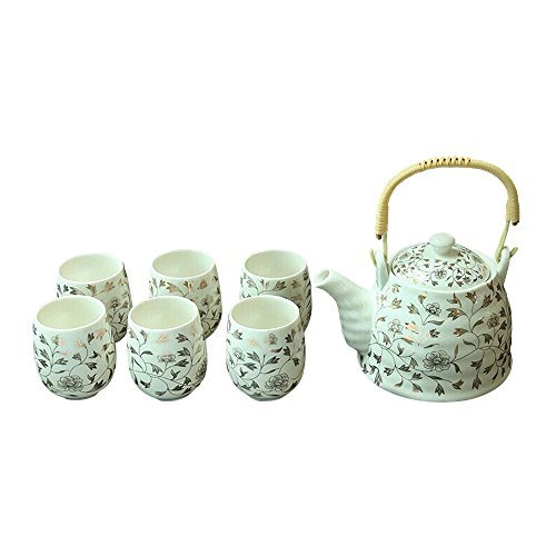 ufengke® Blanco Oro Flor mango Eerrado Cerámico Juego de té