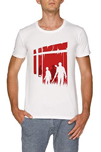 Zuletzt Menschen Herren Weiß T-Shirt Größe S | Men's White T-Shirt Size S (The Clicker Last Of Us)