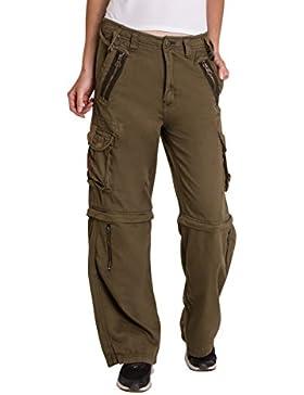 Qaswa Mujer Convertible Pantalones Casuales Carga Multi Bolsillos Pantalón Womens Trousers