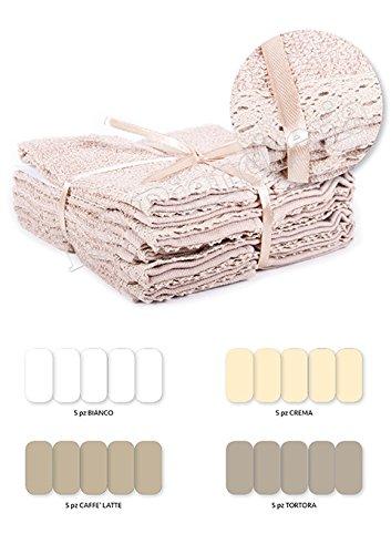 Set spugna lavette luise shabby chic - 5 asciugamani viso cm 30x30 con rifinitura pizzo macramè - idea regalo, bianco