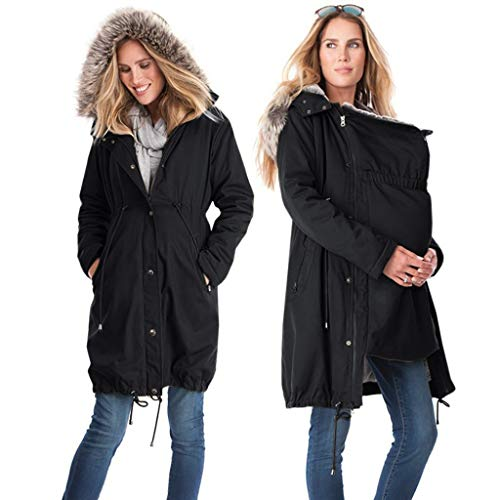 Tianwlio Mäntel Herbst Winter Damen Jacken Parka Warme Jacken Strickjacken Mode Stitching mit Kapuze Pelzkragen Lange Mutterschaft Mantel Hoodie Outwear Schwarz L