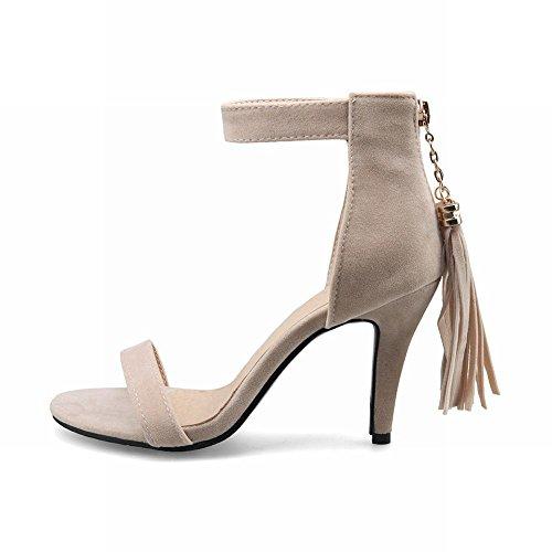 Mee Shoes Damen mit Quaste Nubukleder Reißverschluss Sandalen Aprikose ... 7d10c0297b