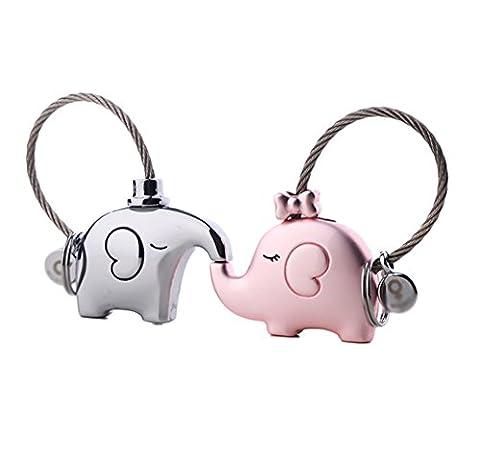 iSuperb® 1 Pair Keychain Couple Keychain Kissing Elephants Couple Key