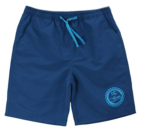 Costume da bagno Uomo Boxer con Tie anteriori Pantaloni Regolabile Costumi da bagno Traspirante Pantaloncini Da Surfe (L, Blu)