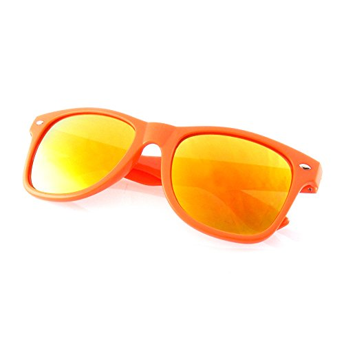 Emblem Eyewear - Flash Farbe Spiegel reflektierende Linse Neon Sonnenbrille (Orange)