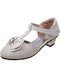 Filles Enfants Blanc Paillettes Escarpins Talon Haut Chaussures De Soirée Mariage