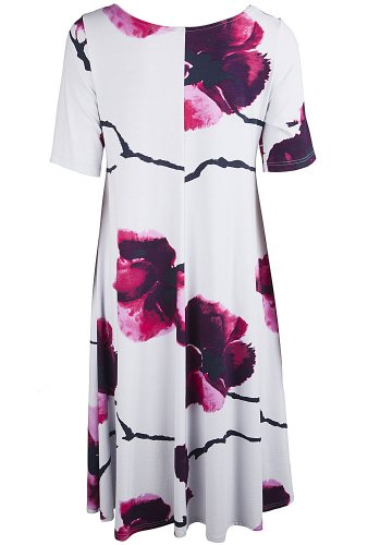 Nanso robe pour femme à manches 3/4 longueur viscose stretch 97 cm Multicolore - Silbergrau-Rottöne