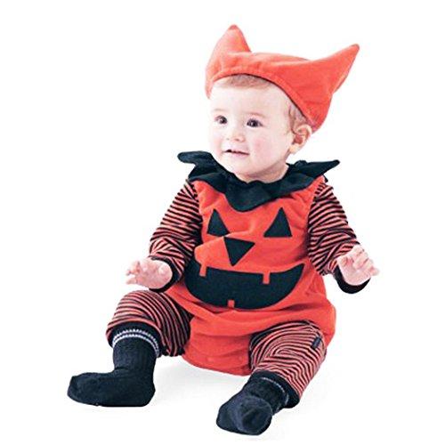 Kürbis Kostüm Kopf Muster (Babykleidung Mädchen Lange Hülse Overall Säugling Baby Junge Gestreift Kürbis Spielanzug Halloween Outfits Festliche Kindermode Kostüm Hut Set Hirolan (80,)