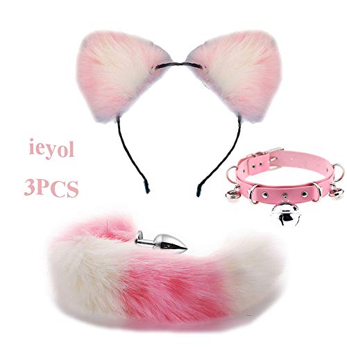 Valentine Cat Kostüm - Bnmgh Pink with White Cute Cat Headpiece Collar Choker B-ütt P-l-ǔ-g Fox Tail for Halloween Prom Nightclub Party Costume Cosplay Valentine's Day Present