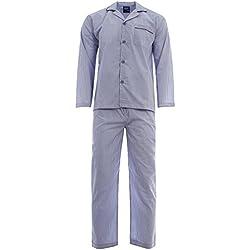 Harvey James - Pijama - Rayas - con botones - Manga Larga - para hombre Azul Rayas Azules Medium