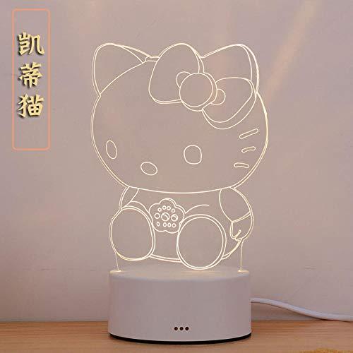 3D Nachtlicht Nachtlicht - 3D Kleine Tischlampe Cartoon Nachttisch Schlafzimmer Licht Fantasy Weiches Licht Geburtstagsgeschenk Led Baby Fütterung Nachtlicht - Nachtlicht (Hello Kitty Licht)