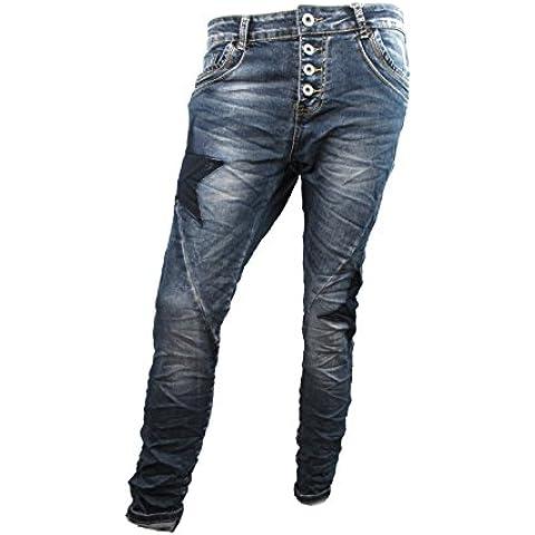Lexxury Donna Ragazzo Larghi Jeans con aperto Pulsante leist quattro Bottoni e obliquo Cuciture gambe