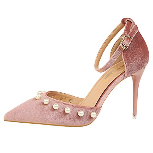 Oasap Women's Pointed Toe Ankle Strap Stiletto Heels Pearls Pumps pink