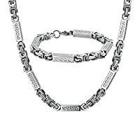 AMDXD Jewelry Stainless Steel Bracelet Necklace Sets for Men Rectangle Silver 60.3X0.7CM