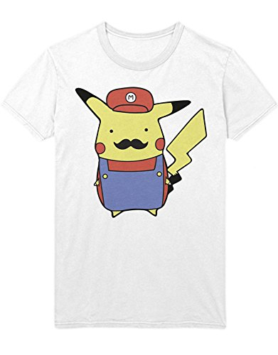 T-Shirt Pika Mario Mashup Mustache Poke Go Kanto 1996 Blue Version Pokeball Catch 'Em All Hype X Y Blue Red Yellow Plus Hype Nerd Game C980111 Weiß XXXL