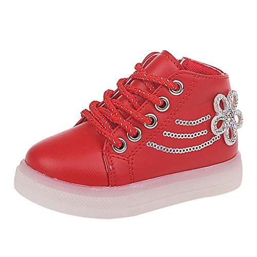 BoyYang Schuhe Kleinkind Baby LED Licht Schuhe, Mädchen Jungen Weiche Luminous Atmungsaktives Outdoor Sportschuhe Sneaker Herbst Winter Turnschuhe 21-30 (25,rot)