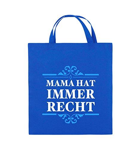 Comedy Bags - Mama hat immer recht - Jutebeutel - kurze Henkel - 38x42cm - Farbe: Schwarz / Weiss-Neongrün Royalblau / Weiss-Hellblau