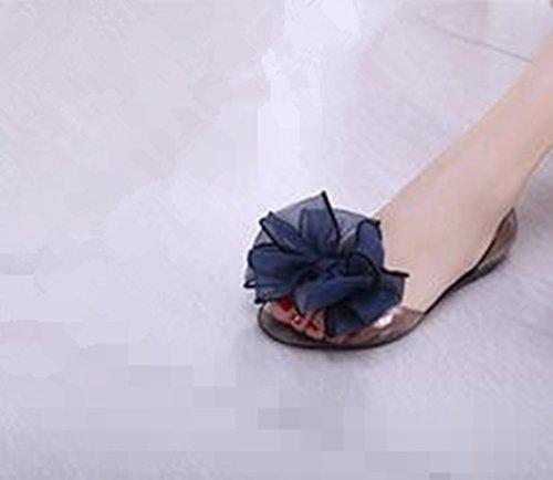 demarkt-women-bowknot-jelly-peep-toe-flats-slip-on-beach-sandals-shoes-transparent-flat-shoes-black