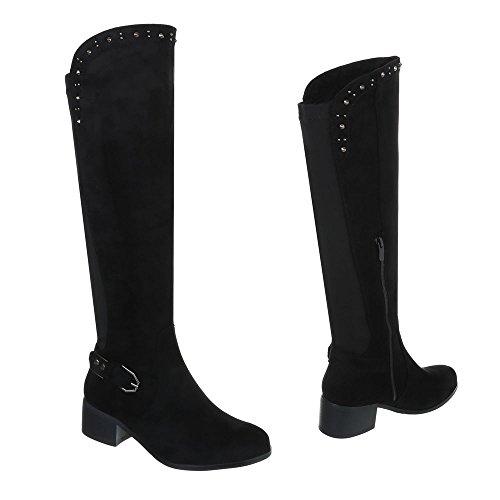 Klassische Stiefel Damenschuhe Klassische Stiefel Blockabsatz Blockabsatz Reißverschluss Ital-Design Stiefel Schwarz