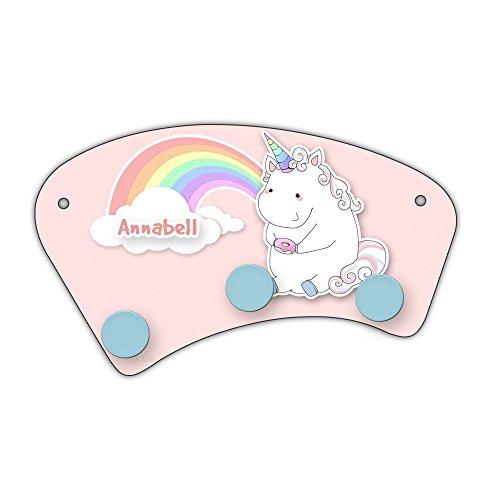 Wand-Garderobe mit Namen Annabell und schönem Einhorn-Motiv mit Donut und Regenbogen für Mädchen | Garderobe für Kinder | Wandgarderobe