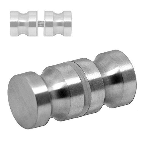 Glastürgriffe Ø3cm Glas-Türbeschlag Edelstahl Griff Matt Duschtür-Knopf Duschtürgriff Türgriff Bad-Tür Silbern, Modell:Mod 2-1 Stück - matt -