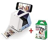 KiiPix Kit Stampante fotografica per Smartphone con pellicola Fujifilm Instax Mini (10 foto), Blu