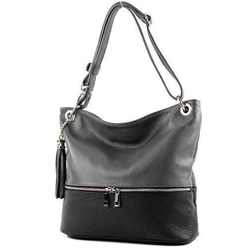 Schwarz-schulter-handtaschen (modamoda de - T143 - ital Schulter-/Umhängetasche aus Leder, Farbe:Dunkelgrau/Schwarz)