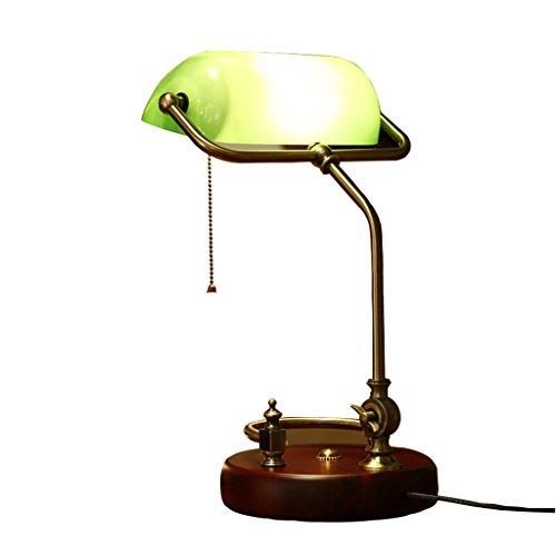 DENGJU Amerikanische Vintage echte Holz Schreibtischlampe Studie Schreibtisch Job Lesen der grünen Schlafzimmer Bett der alten Shanghai - Schreibtisch-job