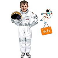 Tacobear Astronaut Costume for Kids Spaceman Role Play Costume Set Jumpsuit Helmet Gloves Name Tag and Flag Pin for Children Boys Girls